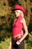 Cowgirl rubio atractivo Fotografía de archivo