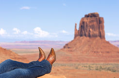 Jeans and boots at Monument Valley Stock Image