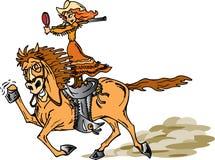 Cowgirl Shooting Rifle. Cowboy shooting a rifle backwards Stock Illustration