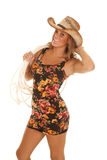Cowgirl smile hat rope Stock Photo