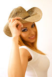 Cowgirl smiling Stock Image