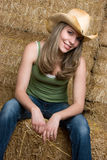 Cowgirl Smiling Stock Images