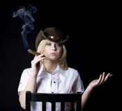 Cowgirl smoke Royalty Free Stock Photo