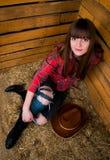 Cowgirl sonriente hermoso Imagen de archivo libre de regalías