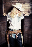 Cowgirl in the stables Royalty Free Stock Images