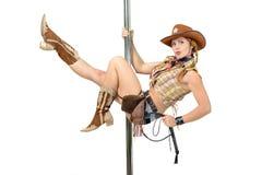 Cowgirl su un palo fotografia stock libera da diritti