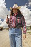 Cowgirl sul quarto di luglio, in Lima Montana Fotografie Stock