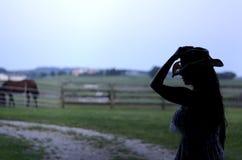 Cowgirl sylwetka fotografia stock
