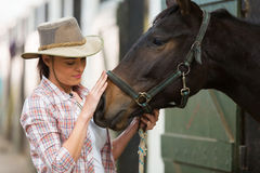 Cowgirl talking horse. Caring cowgirl talking to a horse in farm house Royalty Free Stock Photo
