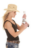 Cowgirl tank top gun up Stock Image