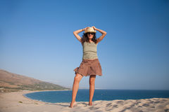 Cowgirl on top of beach Stock Photos