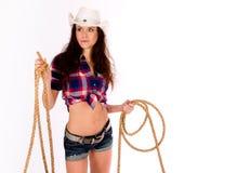 cowgirl trzyma lasso Zdjęcia Royalty Free