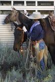 Cowgirl und Pferde Stockbild