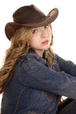 Cowgirl up close side serious look Royalty Free Stock Photo