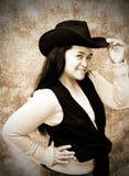 Cowgirl-Vecchio sguardo della foto Immagini Stock