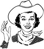 Cowgirl Waving Royalty Free Stock Image