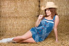 Cowgirl Wearing Hat Stock Photo