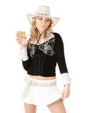 Cowgirl with whiskey Royalty Free Stock Photo