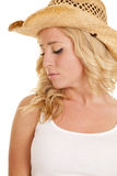 Cowgirl white tank hat close look down side Royalty Free Stock Photo