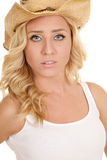 Cowgirl white tank hat close look serious Royalty Free Stock Images