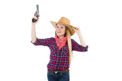 Cowgirl woman with gun isolated Stock Image