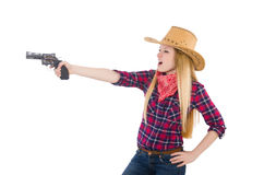 Cowgirl woman with gun isolated Stock Photography