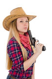 Cowgirl woman with gun isolated Royalty Free Stock Photography