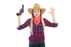 Cowgirl woman with gun isolated Stock Photos