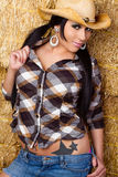 Cowgirl Woman in Hay Royalty Free Stock Images