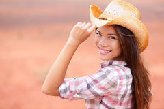 Cowgirl woman smiling happy on american prairie Royalty Free Stock Image