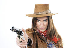 Cowgirl z pistoletem zdjęcia stock
