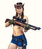 Cowgirljäger mit einem Gewehr stockfotos
