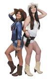 Cowgirls με τα relvolvers Στοκ φωτογραφία με δικαίωμα ελεύθερης χρήσης