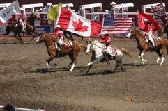 Cowgirls que galopan a caballo Imágenes de archivo libres de regalías