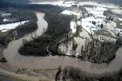 Cowlitz河洪水,华盛顿州 免版税库存照片
