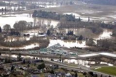 Cowlitz River flood, Washington state Royalty Free Stock Images