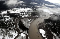Cowlitz River flood, Washington state Royalty Free Stock Photos
