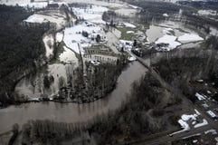Cowlitz River flood, Washington state Stock Images