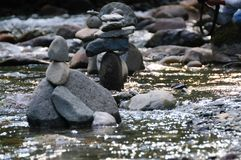The Cowlitz River. Rock Stacks in the The Colitz River near the La Wis Wis Campground in the state of Washinton Stock Photography