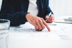 Graph designer man working on workplac stock photo