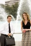 Coworkers. On a Coffee Break in Front of a Fountain stock photography
