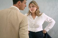 Coworkers. Two coworkers in conflict situation Stock Photography