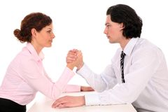 Coworkers Arm Wrestling Royalty Free Stock Photos