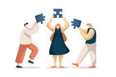 Coworkers assembling jigsaw puzzle, colleagues togetherness, teamwork, group brainstorm, business cooperation. Partnership. Team building exercise concept royalty free illustration