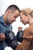 Coworkers in boxing gloves Royalty Free Stock Photography