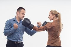 Coworkers in boxing gloves Stock Photos