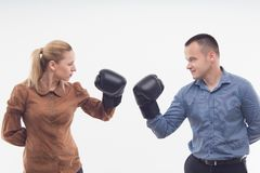 Coworkers in boxing gloves Royalty Free Stock Photos