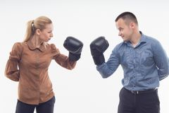 Coworkers in boxing gloves Stock Image
