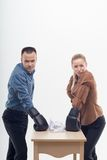 Coworkers in boxing gloves Royalty Free Stock Photo
