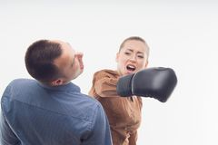 Coworkers in boxing gloves Stock Photo